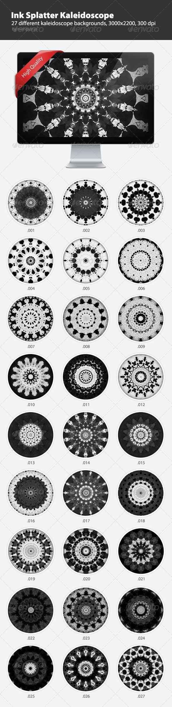 Ink Splatter Kaleidoscope Backgrounds - Abstract Backgrounds