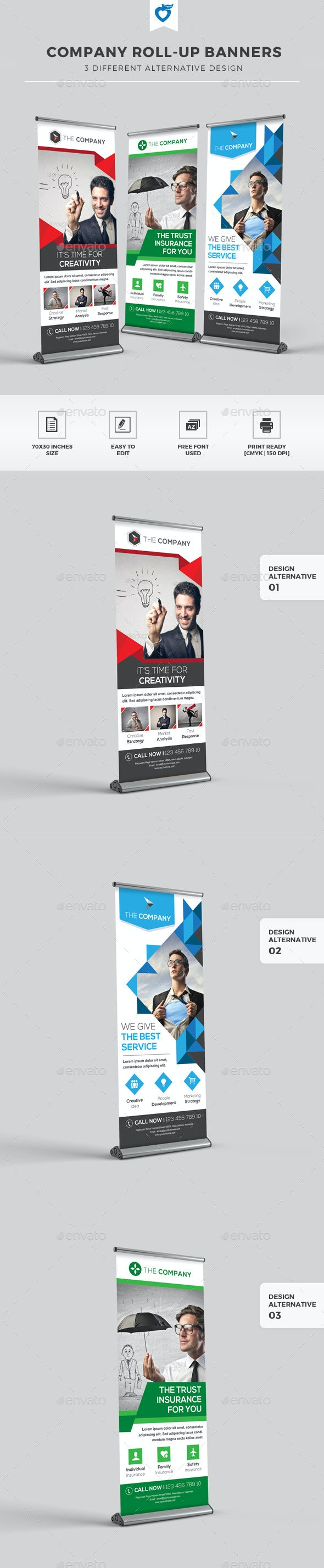 Company Roll-up Banners - Signage Print Templates