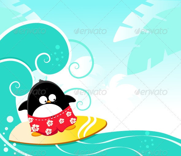 Surfing Penguin - Animals Characters