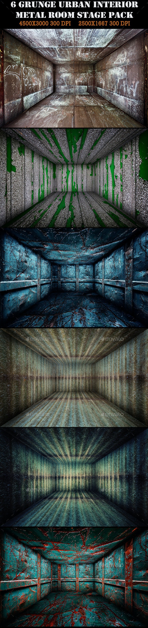 6 Grunge Urban Metal Room Interior Stage Pack - Urban Backgrounds