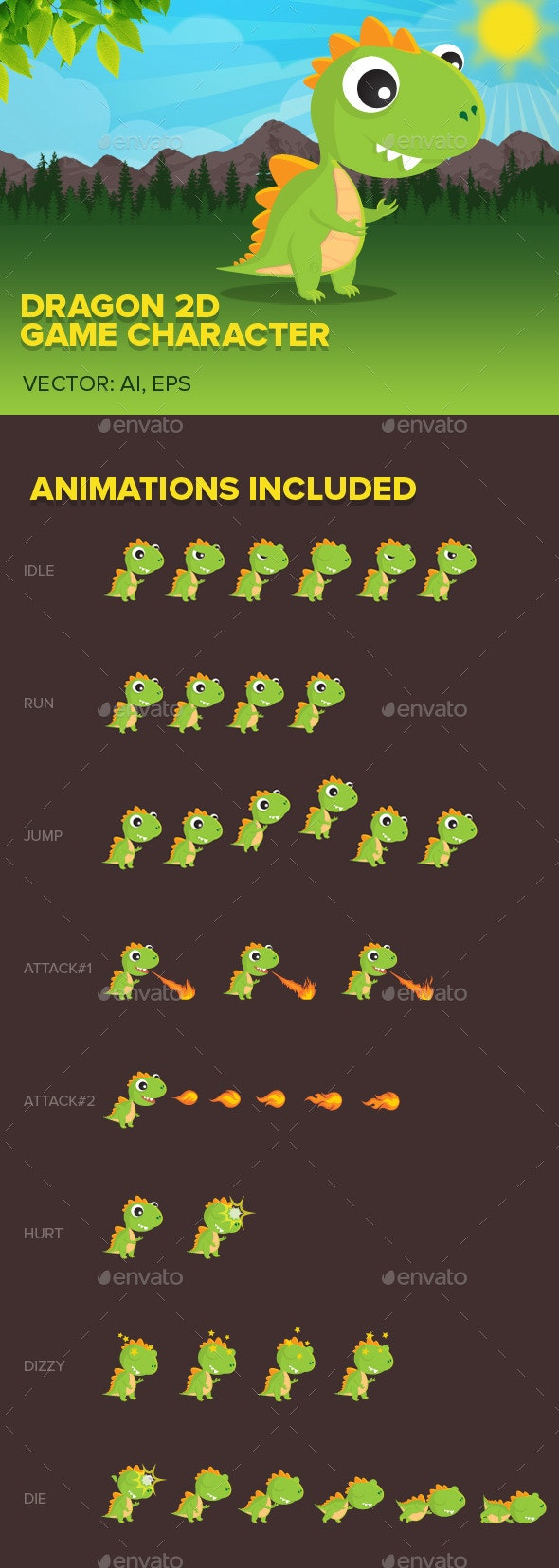 Dragon 2D game character - Sprites Game Assets