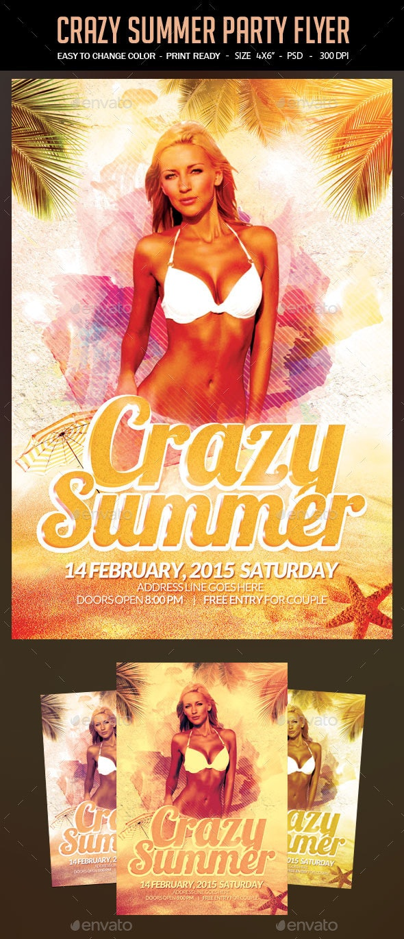 Crazy Summer Party Flyer - Clubs & Parties Events