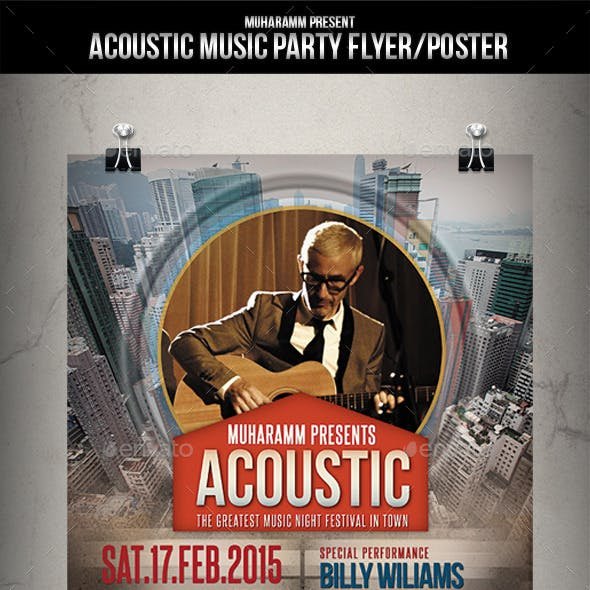 Acoustic Music Party Flyer / Poster