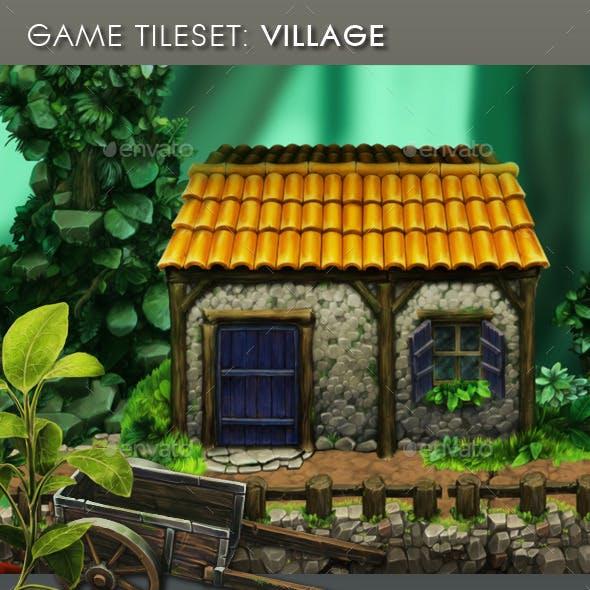 Platform Game Tileset: Village