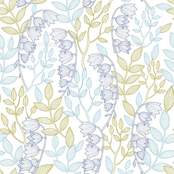 Vector Forest Lily Seamless Pattern Background