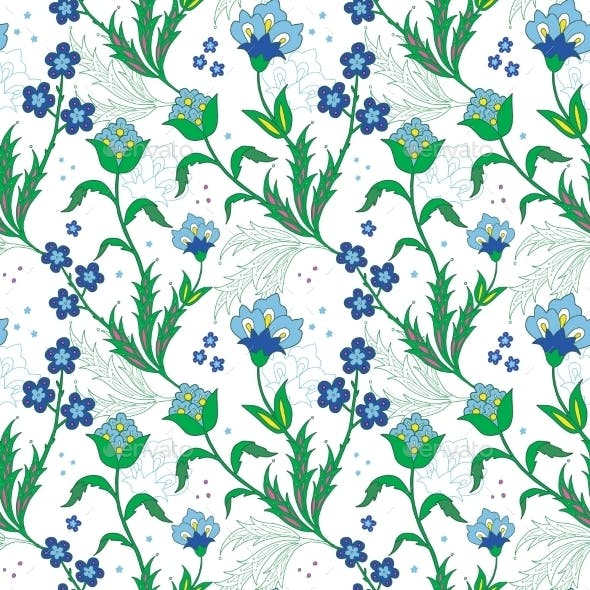 Vector Turkish Field Flowers Seamless Pattern