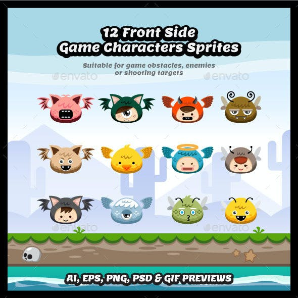 12 Front Side Flying Character Sprite Sheets