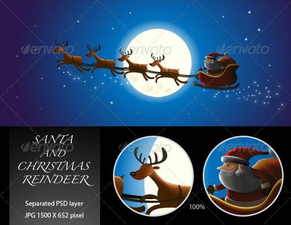 Santa and Christmas Reindeer - Characters Illustrations