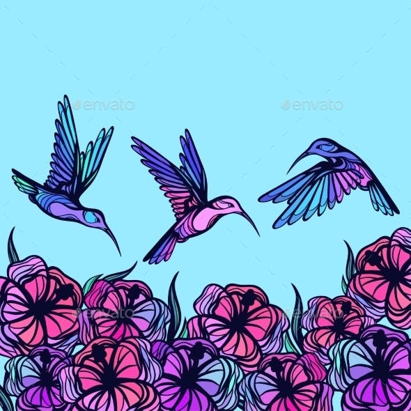 Flying Tropical Stylized Hummingbirds With Flowers