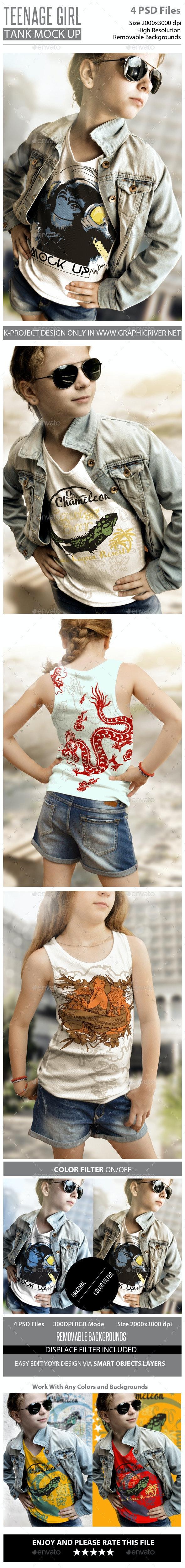 Teenage Girl Tank Mock Up - T-shirts Apparel