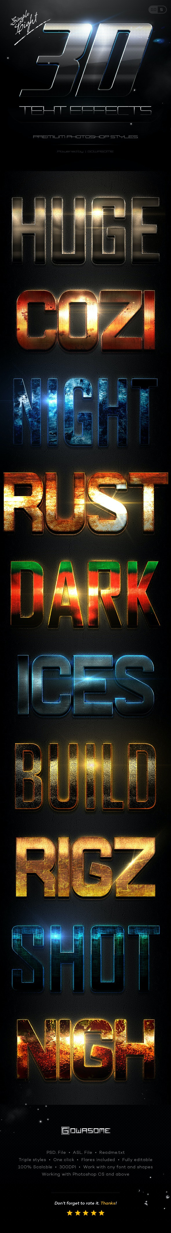 Simple 3D Light Text Effects GO.5 - Text Effects Styles