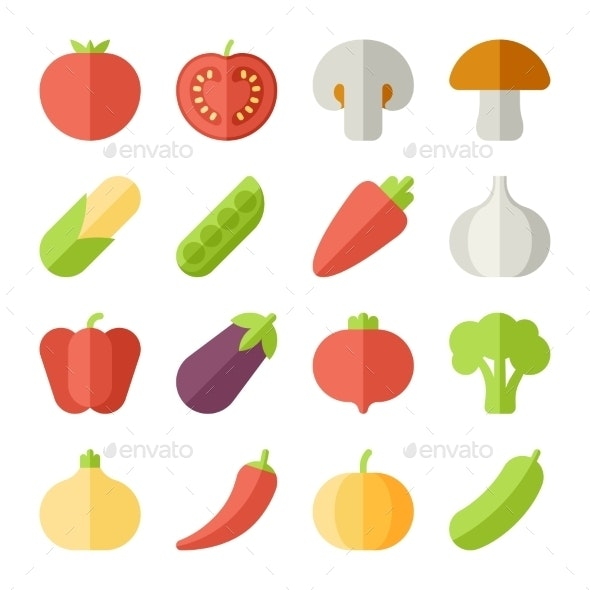 Set Of Flat Design Icons For Fruits And Vegetables - Food Objects