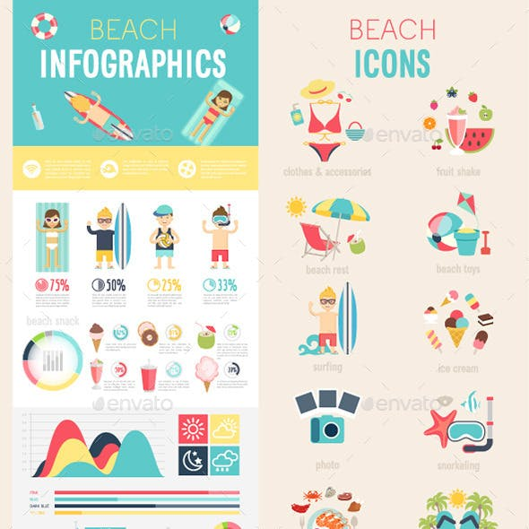 Beach Infographic Set with Charts and Icons.