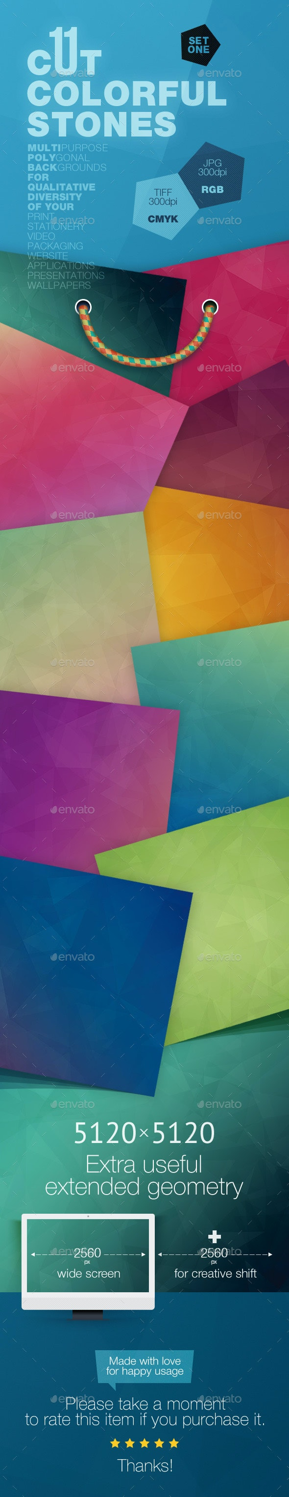 11 Cut Colorful Stones Backgrounds — CMYK and RGB - Abstract Backgrounds
