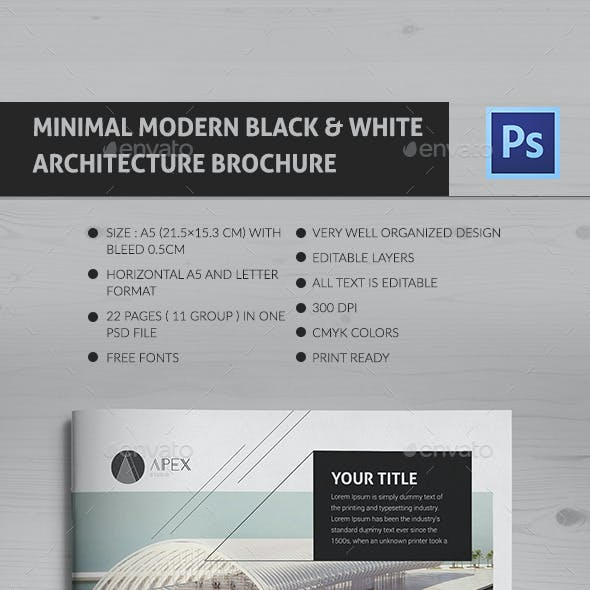 Minimal Modern Black & White Architecture Brochure