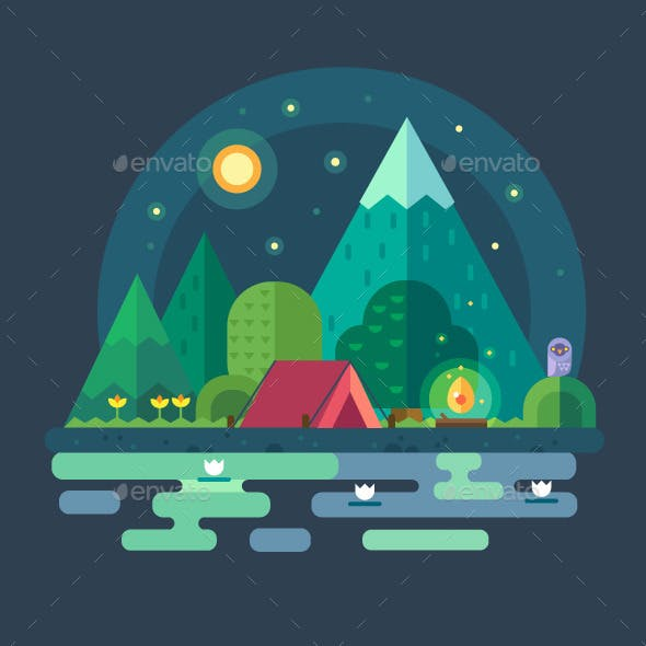 Night Landscape In The Mountains