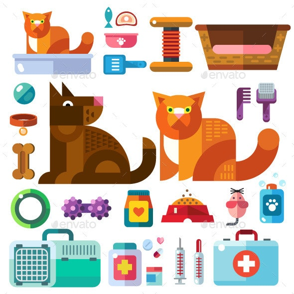 Domestic Animals With Toys - Animals Characters