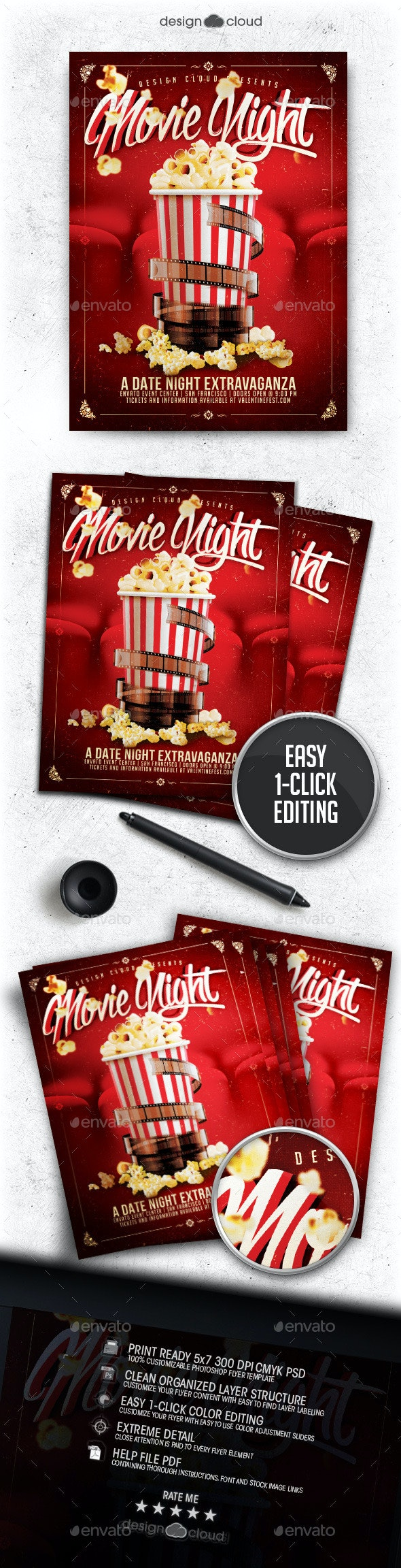 Movie / Dat Night Flyer Template - Events Flyers