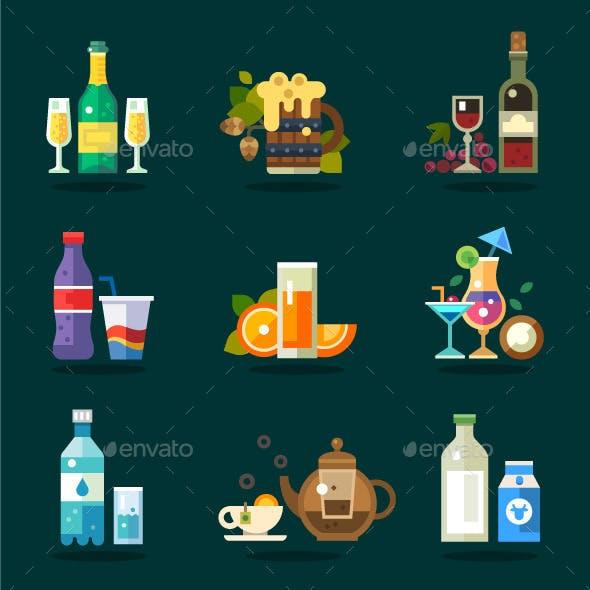 Variety Of Serving Beverages