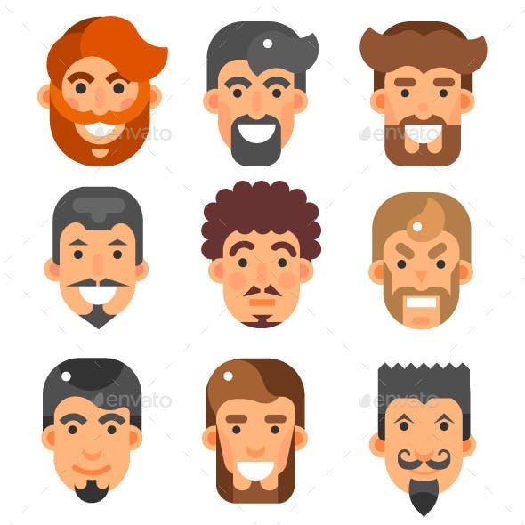 Bearded Male Heads Set