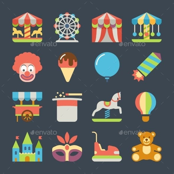 Carnival In Amusement Park Vector Flat Icons