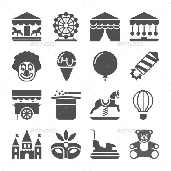 Carnival In Amusement Park Vector Icons