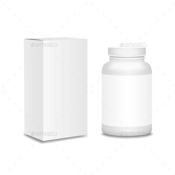 Blank Medicine Bottle with Box