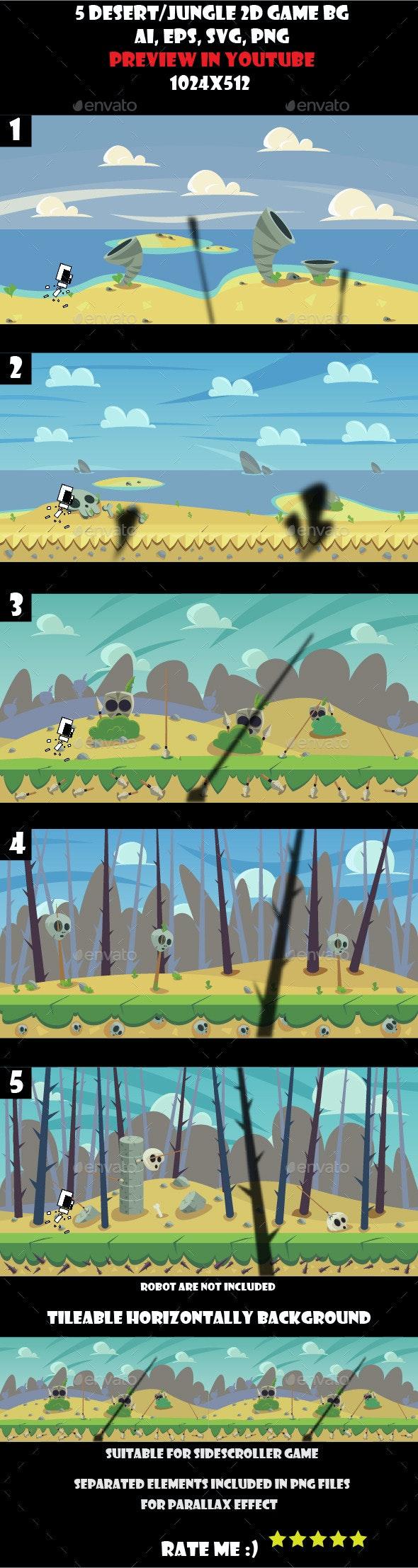5 desert/jungle 2d game background - Backgrounds Game Assets