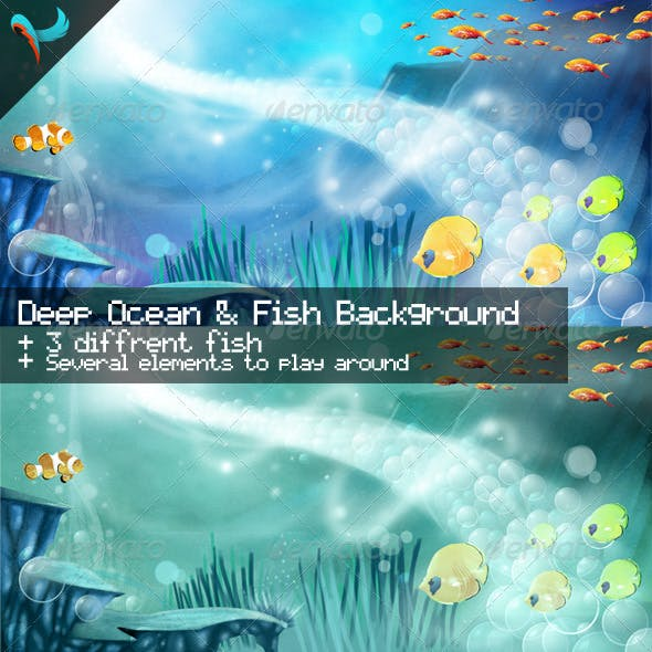 Deep Ocean and Fish Illustrated Background