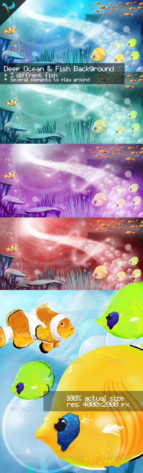 Deep Ocean and Fish Illustrated Background - Illustrations Graphics