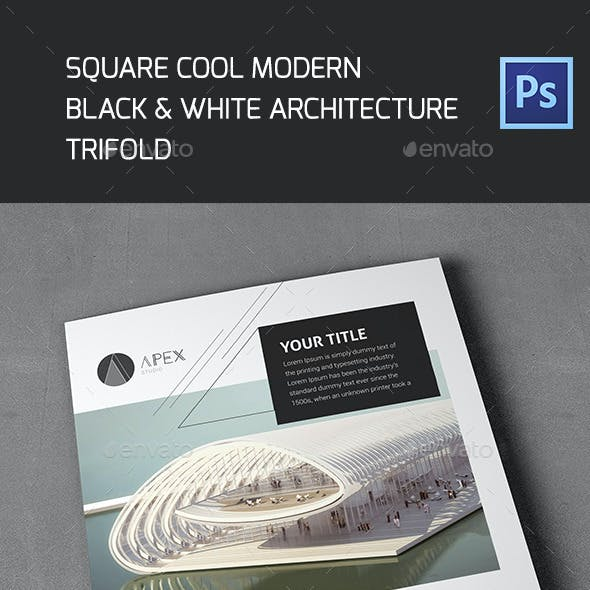 Square Cool Modern Architecture Trifold