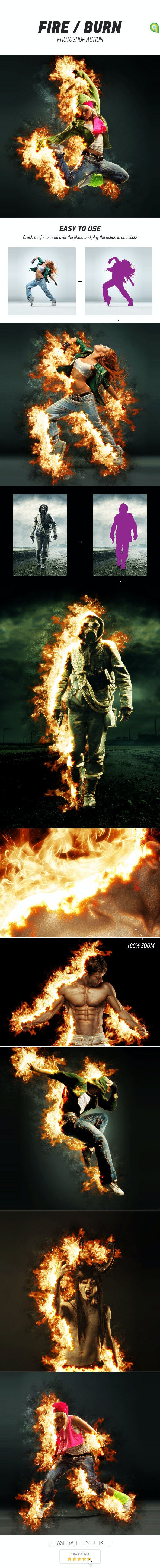 Fire / Burn Photoshop Action - Photo Effects Actions
