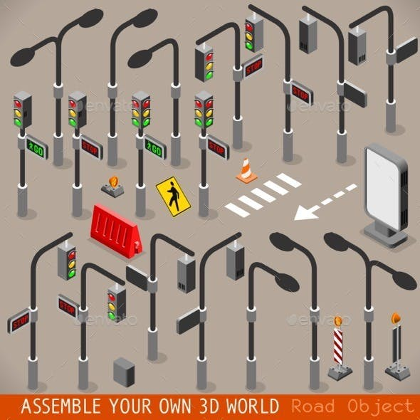 Urban Traffic Management Set Isometric