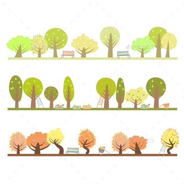 Set Of Three Seasons In The Garden