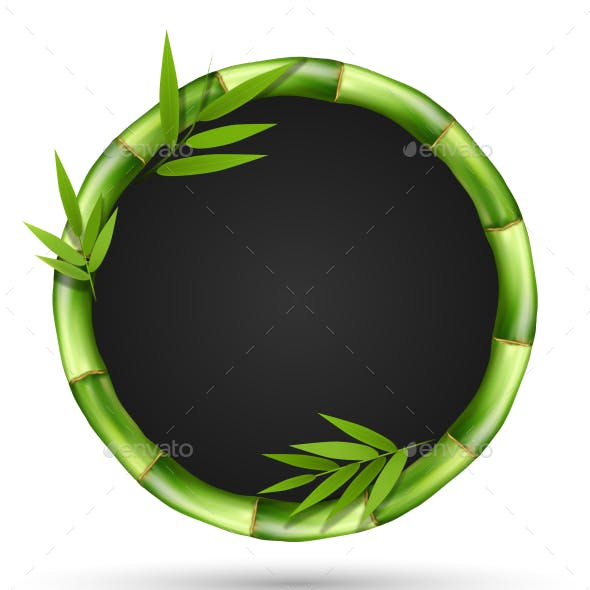 Bamboo Grass Circle Frame with Leafs Isolated