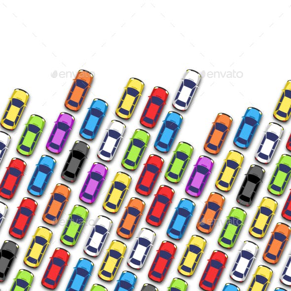 Traffic Jam on Road with Cars Isolated on White
