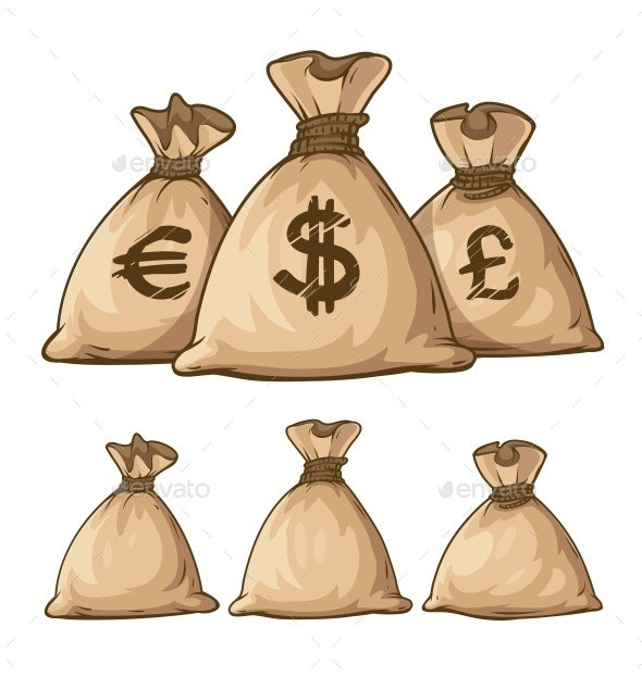 Cartoon Full Sacks with Money - Retail Commercial / Shopping