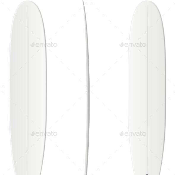 White Surfing Board Template - Longboard