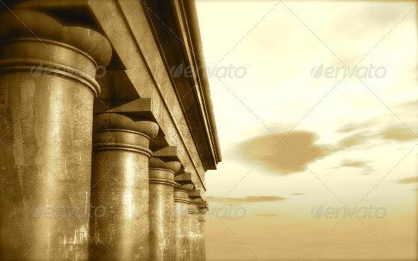 3d Antique Classical Architecture Roman Monument  - 3D Backgrounds