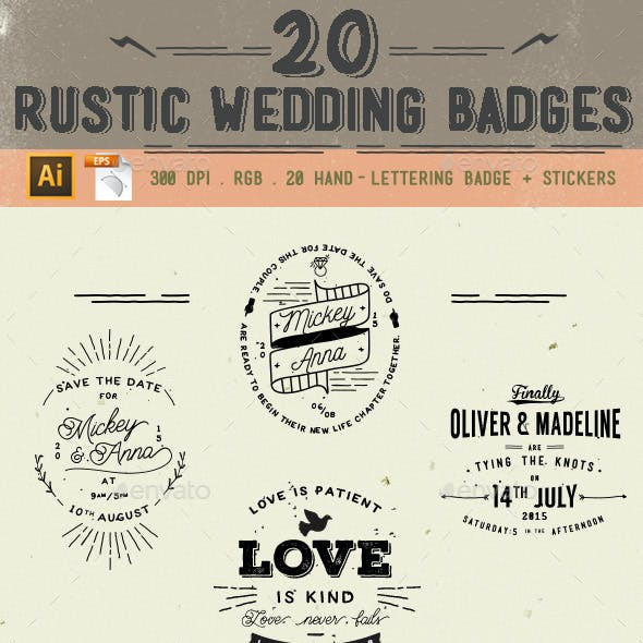 20 Rustic Wedding Badge