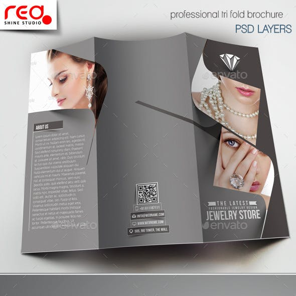 Jewelry Store Trifold Brochure Template -1