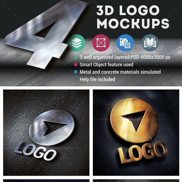 4 3d Logo Mockups