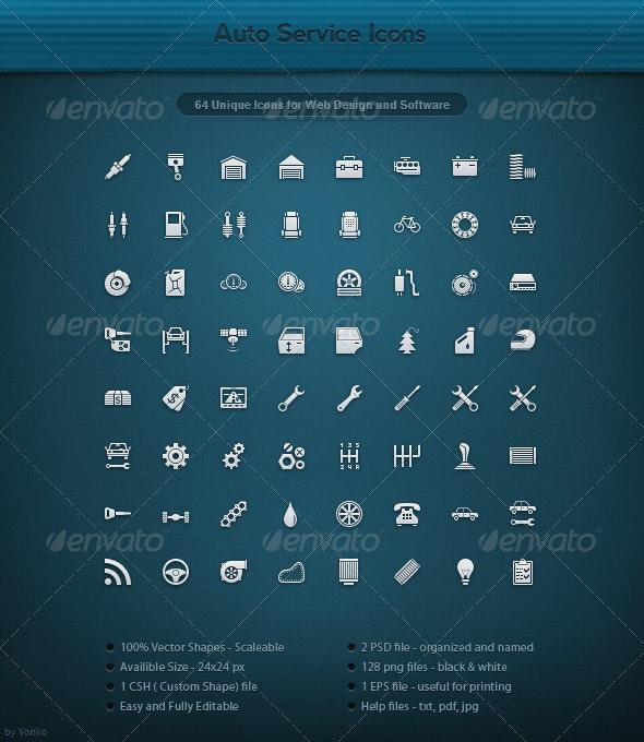 64 Unique Auto Service Icons - Web Icons