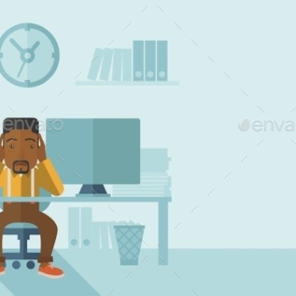 Overworked Businessman is Under Stress