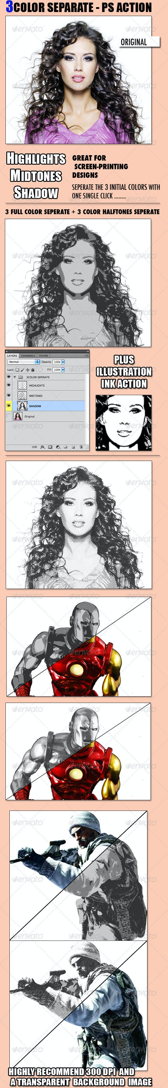 3 Color Seperate - Photo Effects Actions