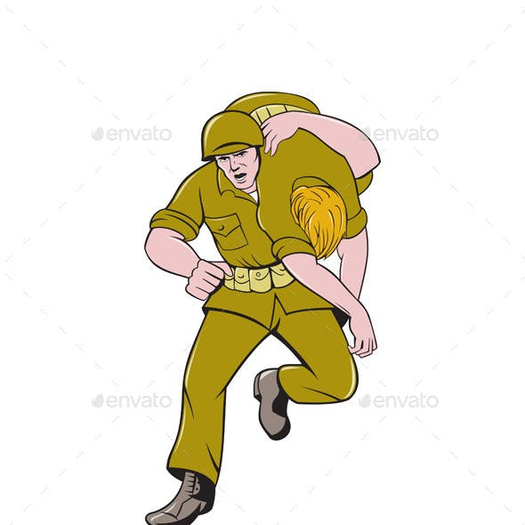 World War Two American Soldier Carry Wounded