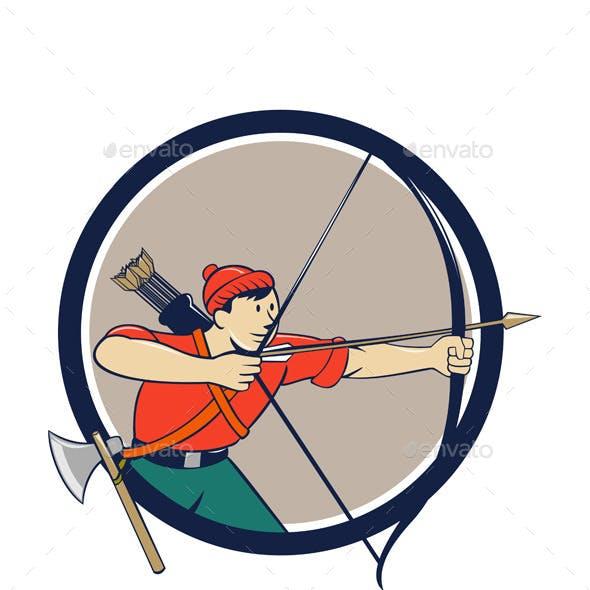 Archer Aiming Long Bow Arrow Cartoon Circle