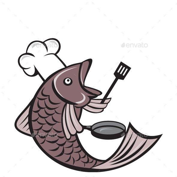 Fish Chef Holding Spatula and Frying Pan Cartoon