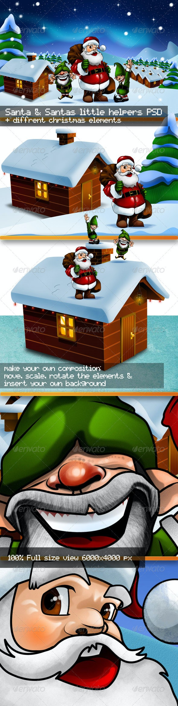 Santa Claus and Santa's Little Helpers PSD Kit - Characters Illustrations