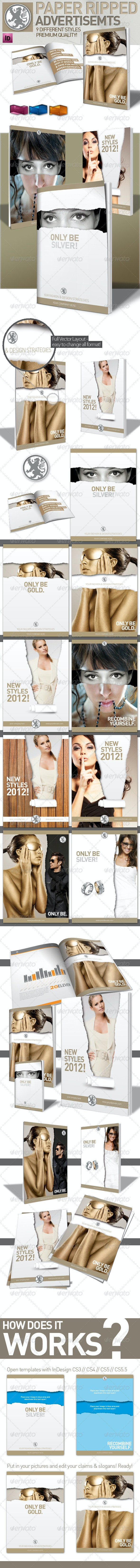 InDesign Magazine Paper Ripped Ad // 9 Variations - Magazines Print Templates